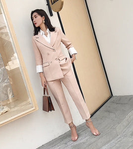 CM-SF010616 Women Elegant European Style Apricot Tailored Collar Slim Leisure Suits - Set