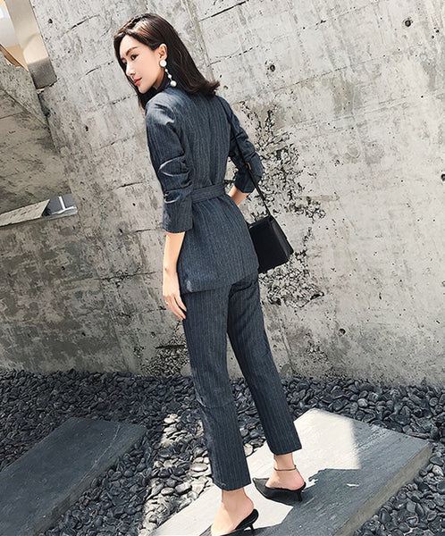 CM-SF010618 Women Elegant European Style Tailored Collar Tie Waist Stripes Slim Suits - Set