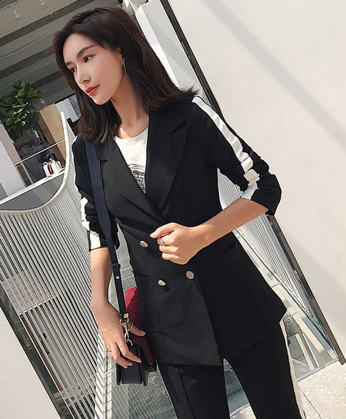 CM-SF010619 Women Elegant European Style Spring Double-Breasted Slim Leisure Suits - Set