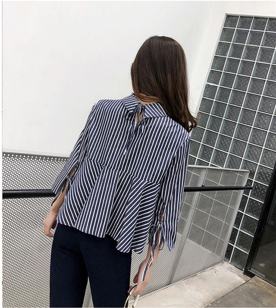 CM-TF011227 Women Preppy Seoul Style Stand Collar Patches Stripes Loosen Blouse - Blue