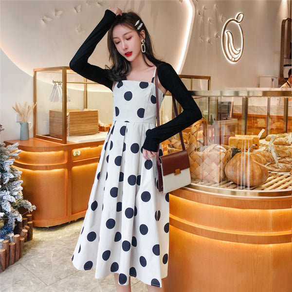 CM-SF011301 Women Casual Seoul Preppy Style Cotton Tops With Dots Straps Long Dress - Set