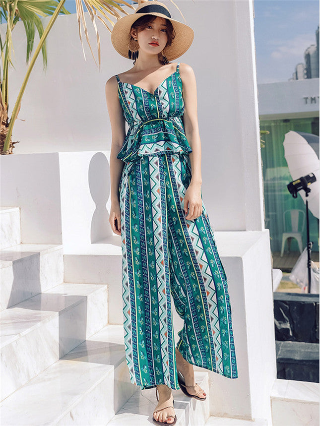 CM-SF011705 Women Casual Seoul Style Sleeveless Floral Top With High Waist Wide-Leg Pants - Set