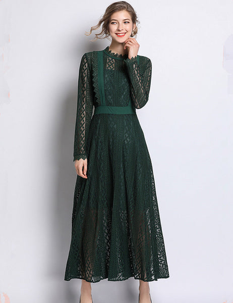 CM-EF021612 Women Casual Seoul Style High Waist Hollow Out Lace Maxi Dress - Green