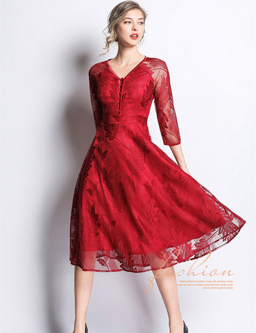 CM-DF022215 Women Elegant Seoul Style Buttons V-Neck Lace Floral Long Dress - Red