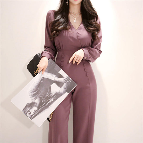 CM-JF030511 Women High Quality Seoul Style V-Neck Double-Breasted Slim Long Jumpsuit