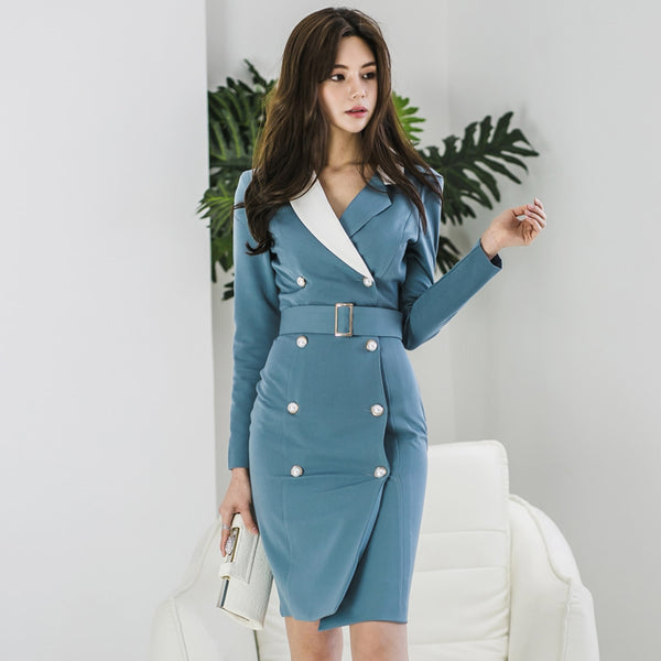 CM-DF030518 Women Modern Seoul Style Double-Breasted Tailored Collar Slim Dress - Blue