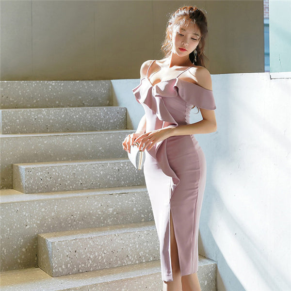 CM-DF030718 Women Elegant Charming Flouncing Boat Neck Split Straps Dress - Light Purple