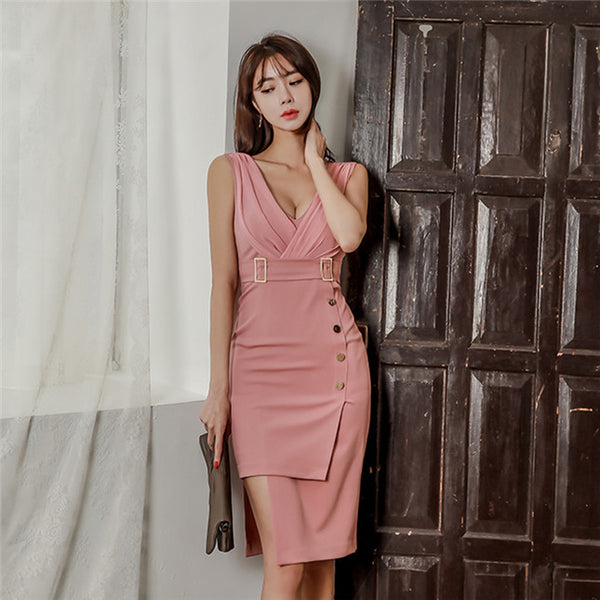 CM-DF030822 Women Modern Seoul Style V-Neck Fitted Waist Skinny Tank Dress - Pink
