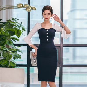 CM-DF030826 Women Charming Seoul Style Square Collar Flare Sleeve Skinny Dress