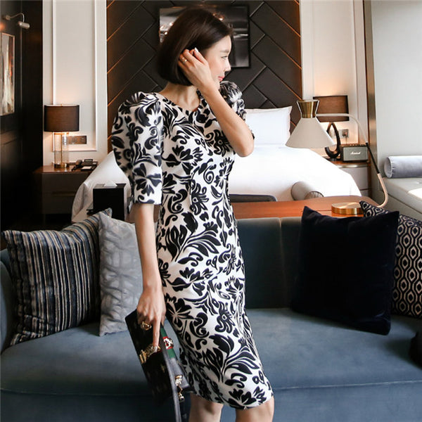 CM-DF031005 Women Casual Seoul Style Round Neck Floral Puff Sleeve Dress