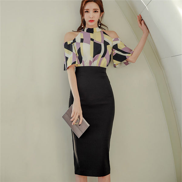 CM-DF031006 Women Modern Seoul Style Tie Collar Stripes Off Shoulder Slim Dress