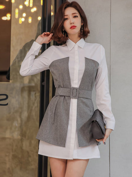 CM-DF031028 Women Casual Seoul Style Shirt Collar Long Sleeve Dress - White