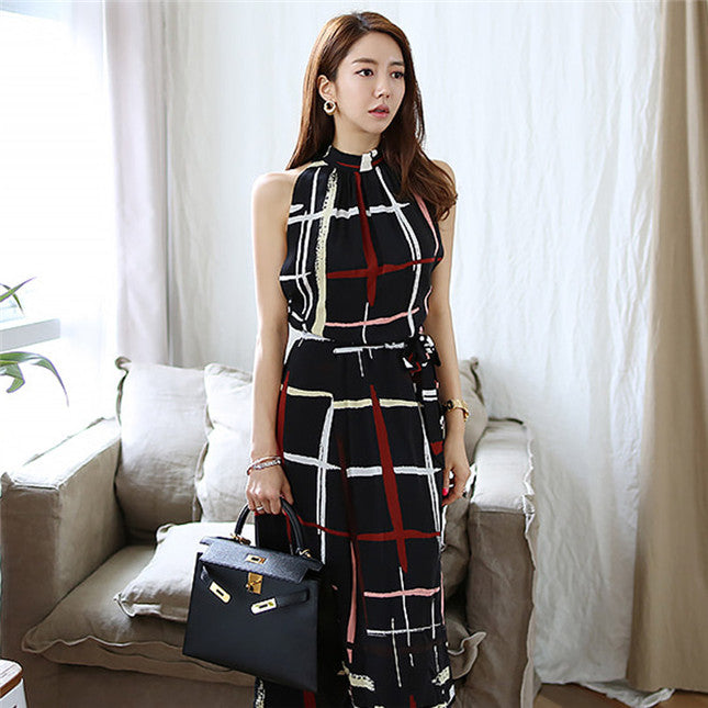 CM-DF031706 Women Casual Seoul Retro Style Tie Waist Plaids Halter Maxi Dress