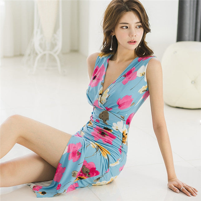 CM-DF031707 Women Casual Seoul Style Sleeveless V-Neck Floral Skinny Tank Dress - Blue
