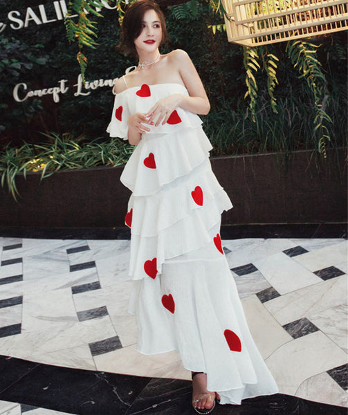 CM-DF031712 Women Lovely Seoul Style Off Shoulder Hearts Layered Maxi Dress - White
