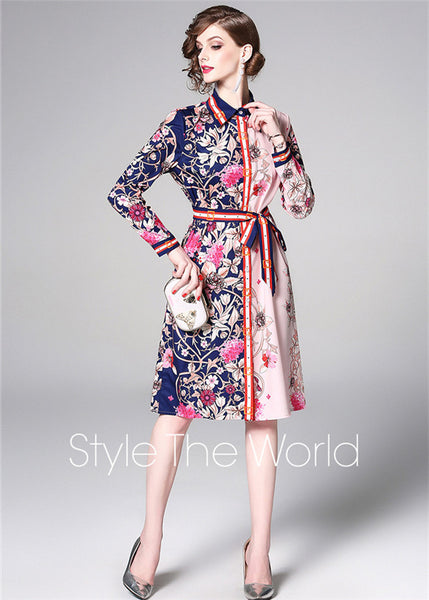 CM-DF031724 Women Elegant European Style Tie Waist Floral Loosen Shirt Dress