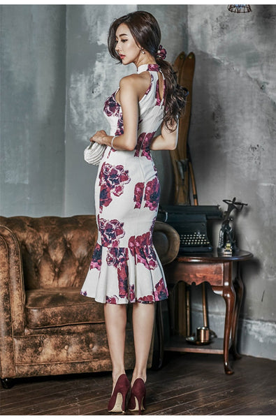 CM-DF031832 Women Elegant Seoul Style Charming Off Shoulder Floral Fishtail Bodycon Dress