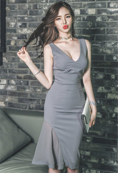 CM-DF031909 Women Casual Seoul Style V-Neck Fitted Waist Bodycon Sleeveless Dress - Gray
