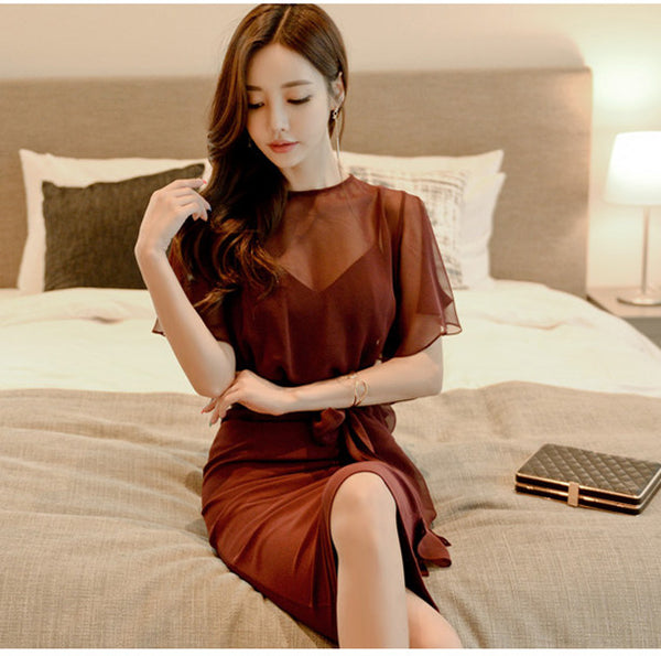 CM-DF031920 Women Elegant Seoul Style Tie Waist Flouncing Slim Dress - Wine Red
