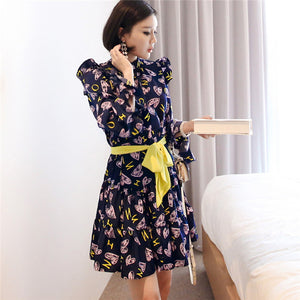 CM-DF032019 Women Casual Seoul Style Floral Printings Tie Waist A-Line Dress