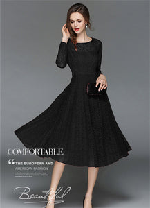 CM-DF032703 Women European Style Long Sleeve Round Neck Pleated Lace Dress - Black