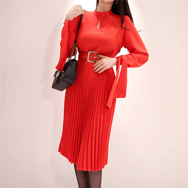 CM-DF040216 Women Casual Seoul Style Long Sleeve Pleated Waist Midi Dress With Belt - Red