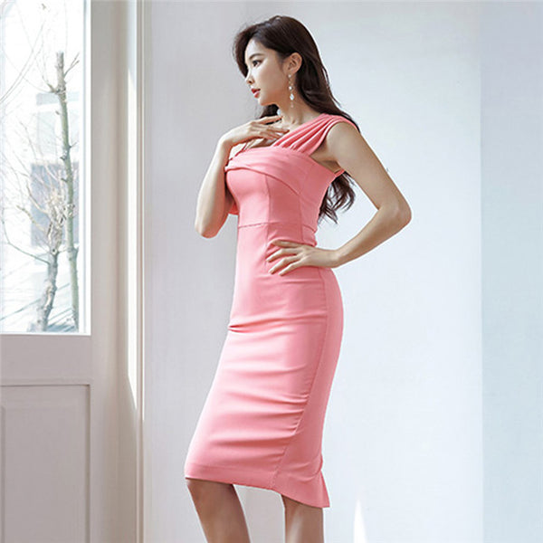 CM-DF040324 Women Elegant Seoul Style Off Shoulder Pleated Skinny Tank Dress - Pink
