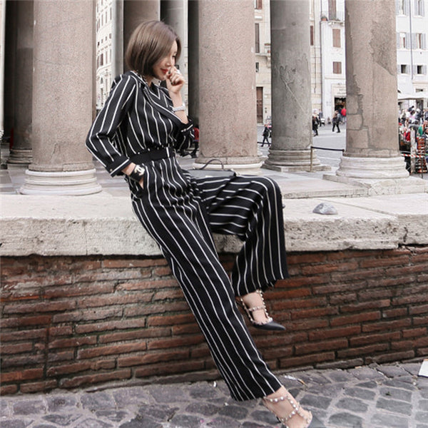 CM-JF040712 Women Elegant Seoul Style Long Sleeve Tailored Collar Stripes Long Jumpsuit