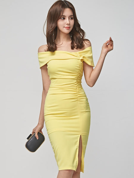 CM-DF042227 Women Elegant Seoul Style Boat Neck Pleated Split Skinny Dress - Yellow