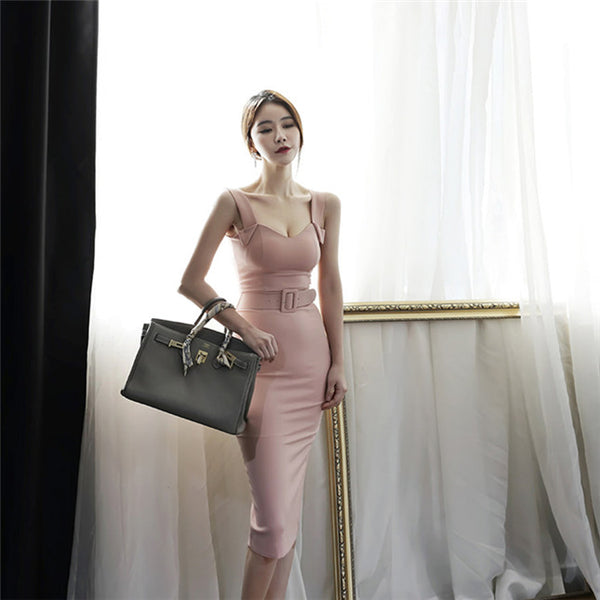 CM-DF042420 Women Elegant Seoul Style Fitted Waist Backless Straps Skinny Dress - Pink