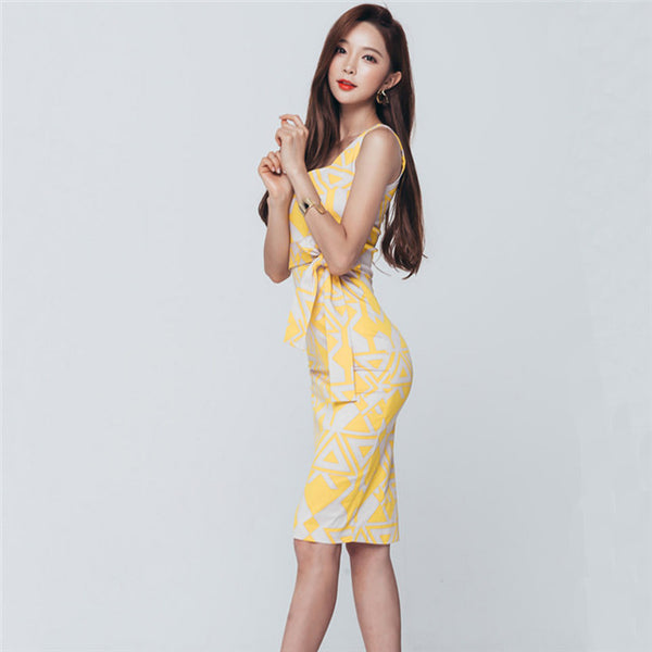 CM-DF051116 Women Casual Seoul Style Square Collar Tie Waist Slim Dress - Yellow