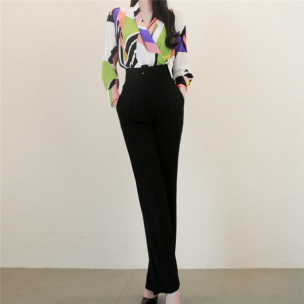 CM-SF051326 Women Modern European Style Blouse With High Waist Long Pants - Set