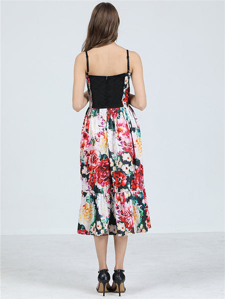 CM-DF051425 Women Retro European Style High Waist Flowers Straps A-Line Long Dress