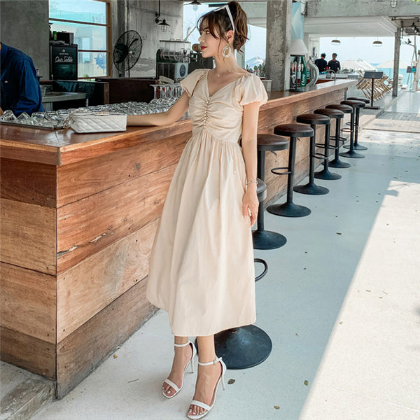 CM-DF052309 Women Casual Seoul Style Summer Pleated V-Neck Puff Sleeve Long Dress - Beige