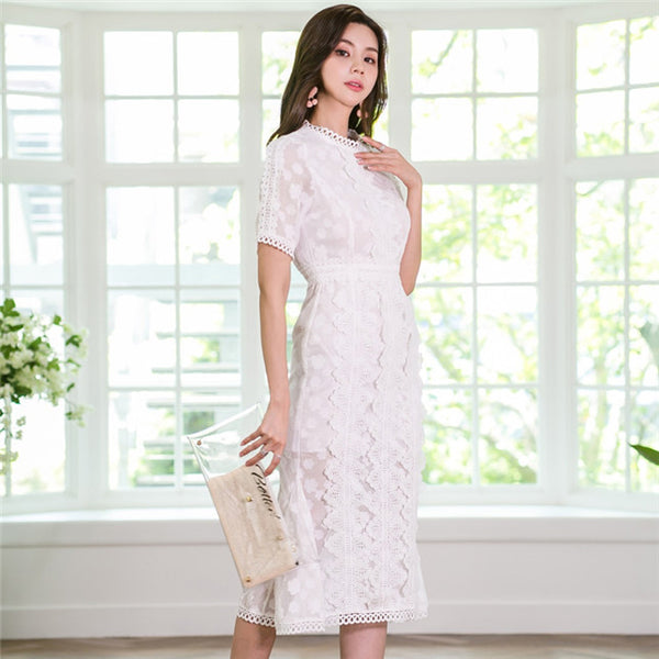 CM-DF052425 Women Elegant Seoul Style Round Neck Hollow Out Lace Fishtail Dress - White
