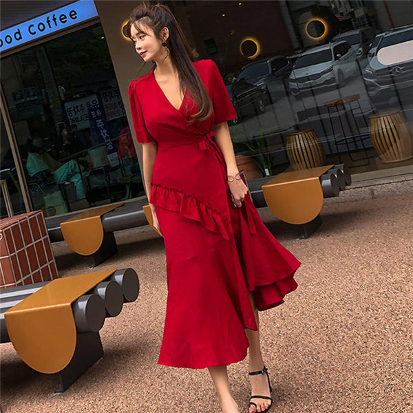 CM-DF060414 Women Casual Seoul Style Tie Waist Flouncing Fishtail Maxi Dress - Wine Red