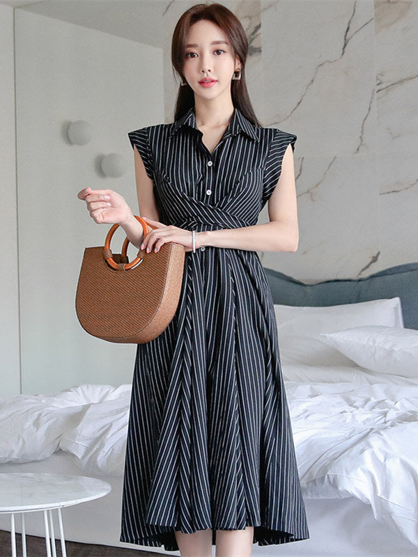 CM-DF061821 Women Casual Seoul Style Shirt Collar Stripes Sleeveless A-Line Dress - Black