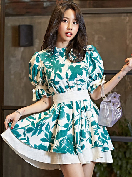 CM-DF062225 Women Casual Seoul Style Floral Tie Waist Puff Sleeve Dress - Green