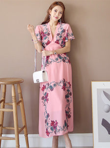 CM-DF062529 Women Charming Seoul Style High Waist V-Neck Floral Maxi Dress - Pink