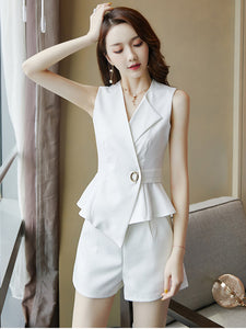 CM-SF071214 Women Elegant Seoul Style Tailored Collar Flouncing Tank Leisure Short Suits - Set