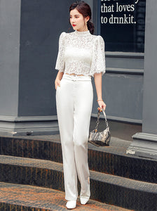 CM-SF071423 Women Elegant Seoul Style Lace Blouse With High Waist Straight Long Pants - Set