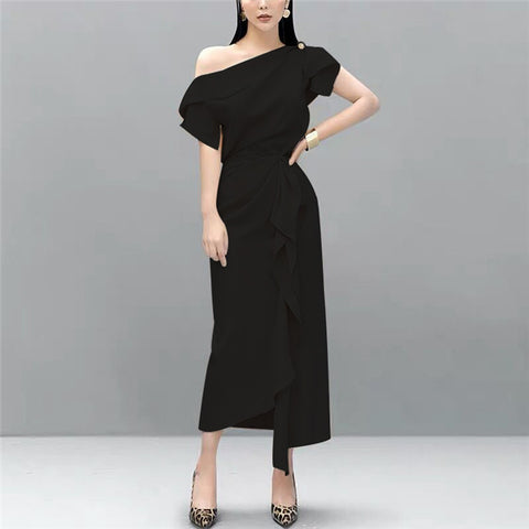 CM-SF072102 Women Elegant Seoul Style Black Off Shoulder Blouse With Flouncing Long Skirt - Set