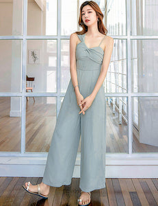 CM-JF081304 Women Casual Seoul Style Sleeveless High Waist Wide-Leg Straps Jumpsuit - Blue