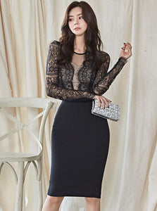 CM-DF120803 Women Elegant Seoul Style Round Neck Lace Splicing Bodycon Dress - Black