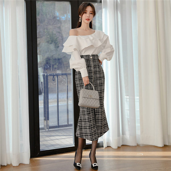 CM-SF121205 Women Elegant Seoul Style Flouncing Blouse With Zipper Plaids Long Skirt - Set