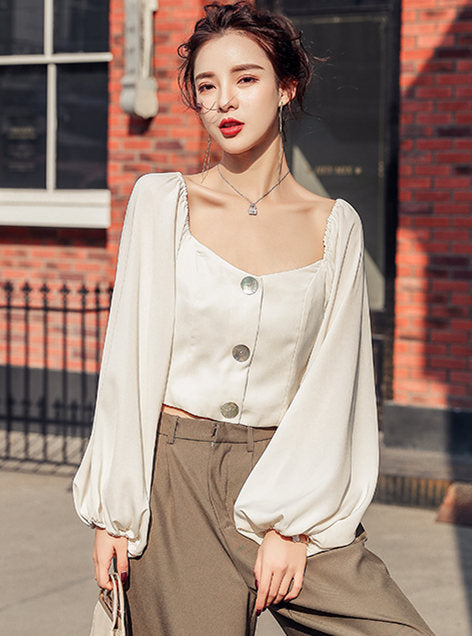 CM-TF010404 Women Casual Seoul Style Square Collar Puff Sleeve Blouse (Available in 2 colors)