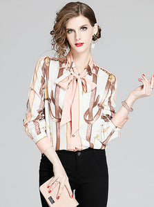 CM-TF010514 Women Casual European Style Tie Bowknot Collar Stripes Blouse - Pink