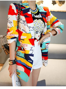CM-CF010721 Women Trendy Street Style Tailored Collar Long Sleeve Printings Jacket