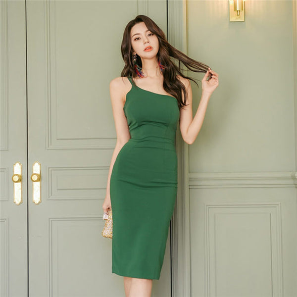 CM-DS040616 Women Casual Seoul Style Sleeveless Off Shoulder Straps Bodycon Dress - Green