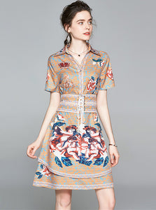 CM-DF051417 Women Retro European Style Short Sleeve Tie Waist Floral Shirt A-Line Dress